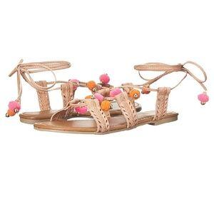 NEW Pompom Flat Strappy Sandals 7